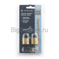 Замки висячие Apecs PDB-20-20-Blister (2Locks+3Keys)
